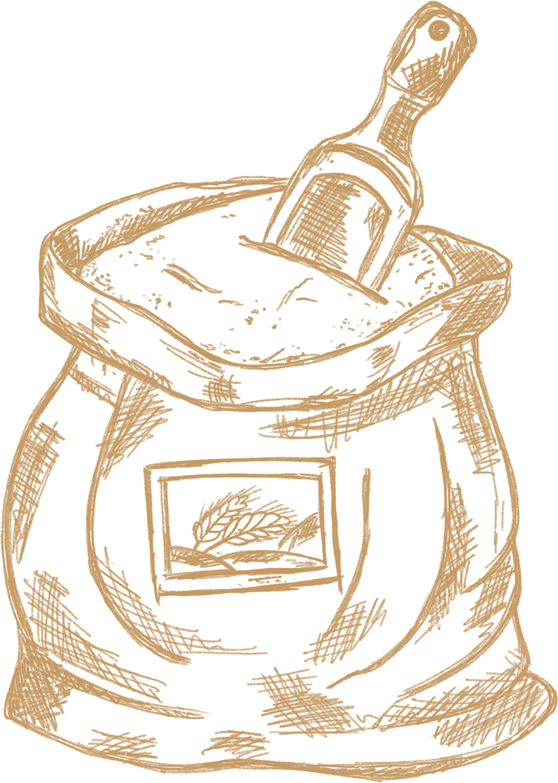Dein Handwerksbäcker Weizen gemalen gezeichnet
